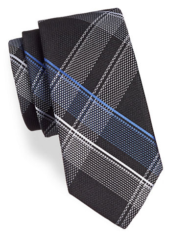 Michael Michael Kors Largescale Plaid Silk Tie-BLACK-One Size