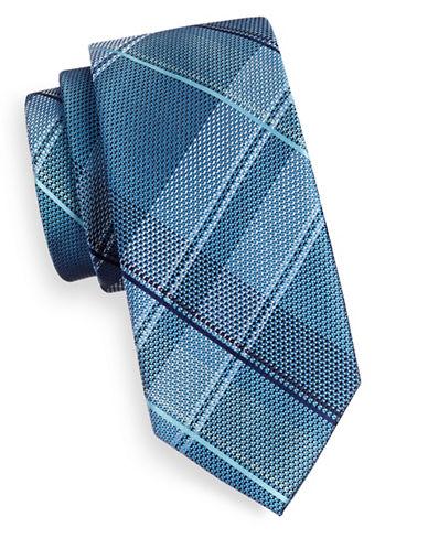 Michael Michael Kors Largescale Plaid Silk Tie-AQUA-One Size