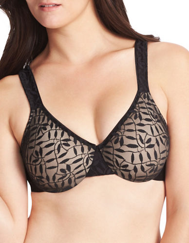 Olga 35519 Sheer Leaves Minimizer Bra-BLACK-42D
