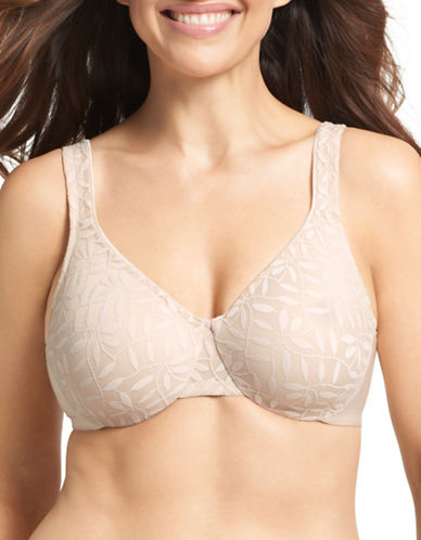 Olga 35519 Sheer Leaves Minimizer Bra-BUTTERSCOTCH-38DD