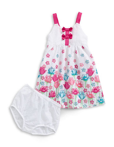 Penelope Mack Floral Hem Trapeze Dress-PINK-18 Months