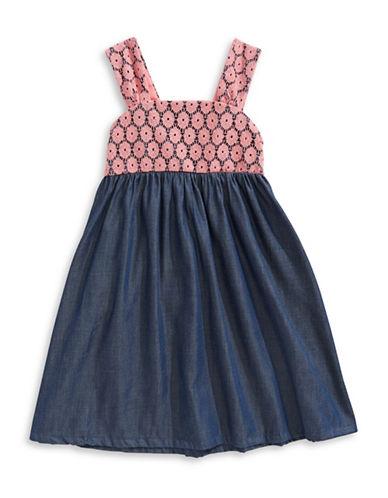 Penelope Mack Crochet and Denim A-Line Dress-CORAL-4