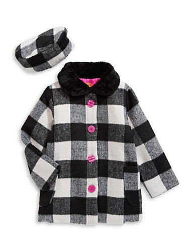 Penelope Mack Buffalo Check Flared Coat and Beret-WHITE-3