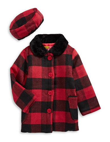 Penelope Mack Buffalo Check Flared Coat and Beret-RED-6X