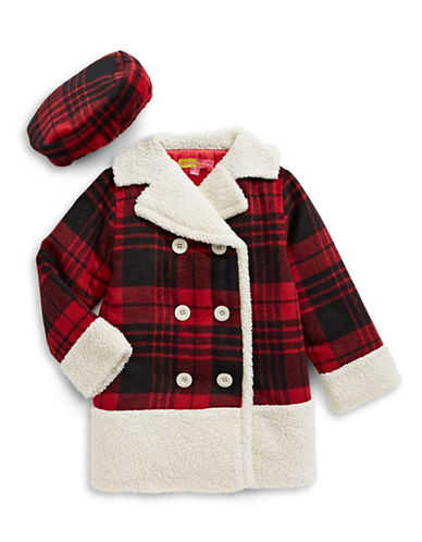 Penelope Mack Double-Breasted Plaid Coat and Beret-RED-6