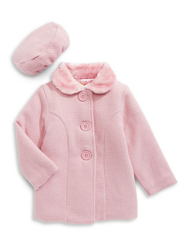 Penelope Mack Faux-Fur Collar Peacoat and Beret-PINK-2