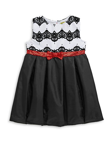 Penelope Mack Contrast Bow-Tie Dress-BLACK-18 Months