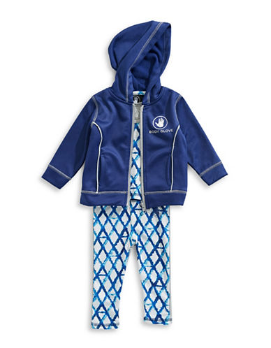 Body Glove Three-Piece Hoodie Top and Pants Set-NAVY-12 Months