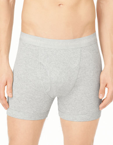 Calvin Klein Three-Pack Cotton Boxer Briefs-HEATHER GREY-Small