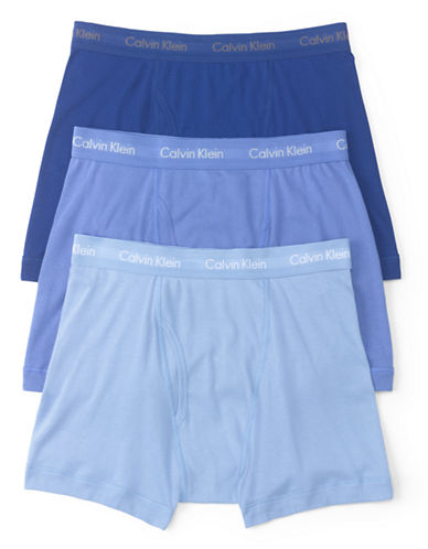 Calvin Klein Three-Pack Cotton Boxer Briefs-BLUE-Small