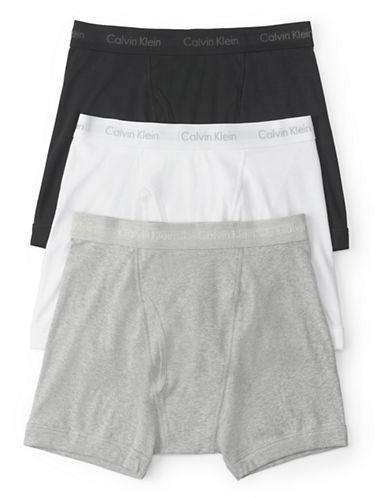Calvin Klein Three-Pack Cotton Boxer Briefs-MULTI-Medium