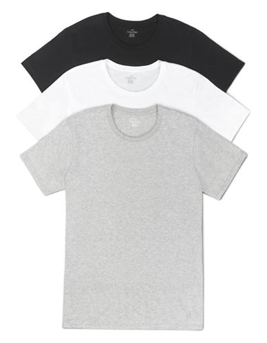 Calvin Klein Three-Pack Cotton T-Shirts-BLACK ASSORTED-Small