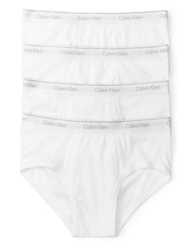 Calvin Klein Four-Pack Classic Fit Cotton Briefs-WHITE-Medium