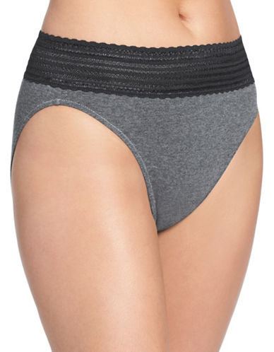 WarnerS Lace Trim Hi-Cut Panties-GREY HEATHER-Large