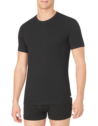 Calvin Klein Cotton Stretch Crew-Neck T-Shirt 2-Pack-BLACK-Large