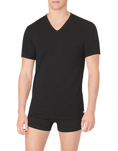 Calvin Klein Cotton Stretch V-Neck T-Shirt 2-Pack-BLACK-Small