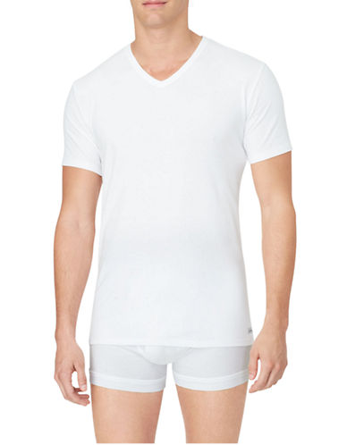 Calvin Klein Cotton Stretch V-Neck T-Shirt 2-Pack-WHITE-Medium