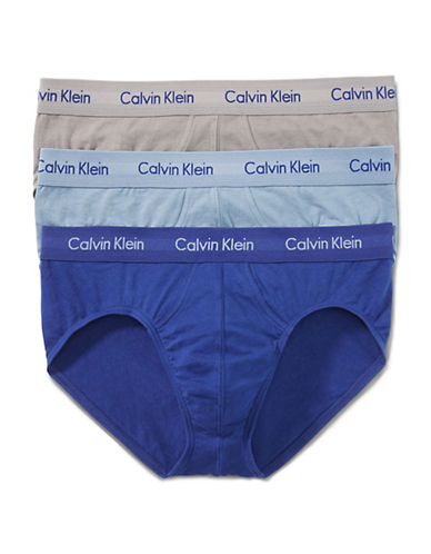 Calvin Klein Cotton Stretch Hip Briefs 3-Pack-BLUE-Small