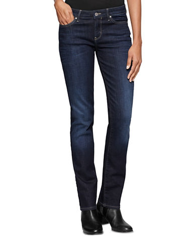 Calvin Klein Jeans Dark Wash Straight Leg Jeans-DARK BLUE-27