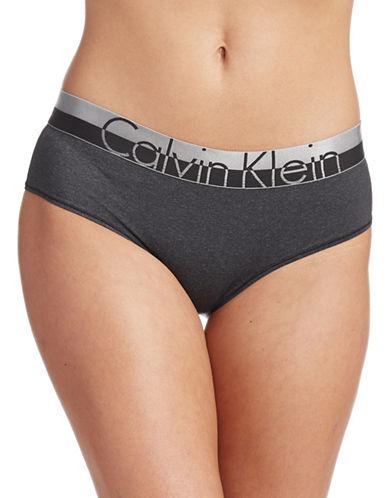 Calvin Klein Logo Waistband Hipsters-BLACK-Small