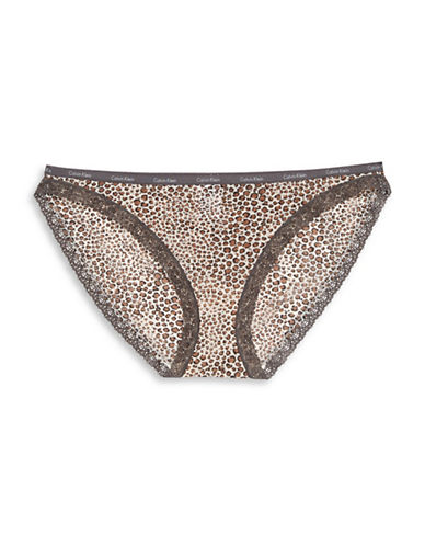 Calvin Klein Lace Trim Bikini Panty-ANIMAL-Medium
