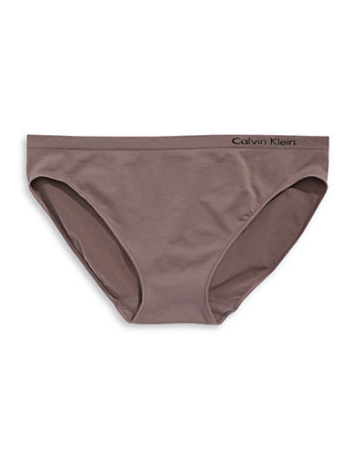 Calvin Klein Seamless Bikini-Fit Briefs-BROWN-Large