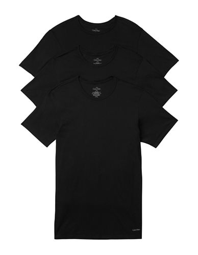 Calvin Klein Three-Pack Slim-Fit Crew Neck T-Shirts-BLACK-Small