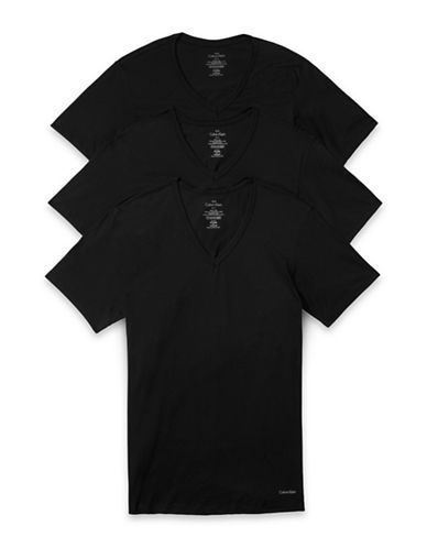 Calvin Klein Three-Pack Slim-Fit V-Neck T-Shirts-BLACK-Medium