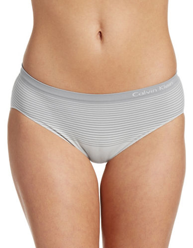Calvin Klein Seamless Striped Hipster Briefs-STONE-Small