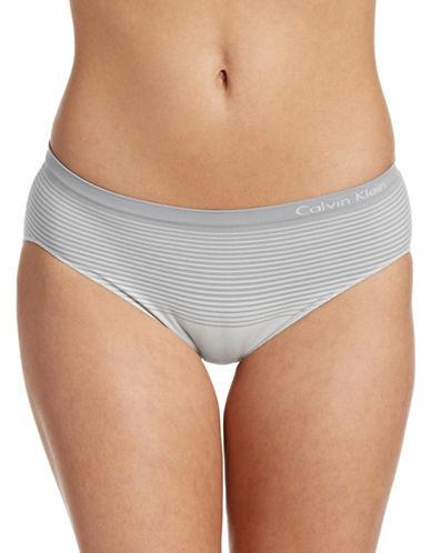 Calvin Klein Seamless Striped Hipster Briefs-STONE-Medium