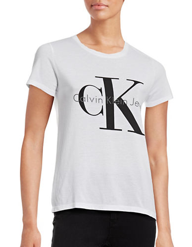 Calvin Klein Jeans Stretch Logo T-Shirt-WHITE-Large
