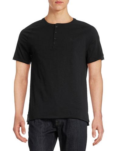 Calvin Klein Jeans Raw Edge Henley T-Shirt-BLACK-Large 88328079_BLACK_Large