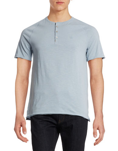 Calvin Klein Jeans Raw Edge Henley T-Shirt-BLUE-Large 88328083_BLUE_Large