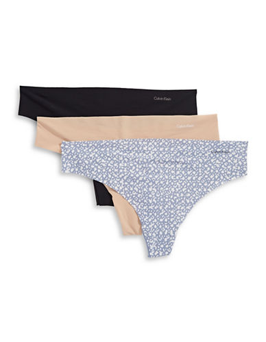 Calvin Klein Three-Pack Seam-Free Thongs-MULTI-X-Large