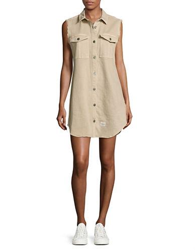 Calvin Klein Jeans Sleeveless Utility Denim Dress-BEIGE-Medium