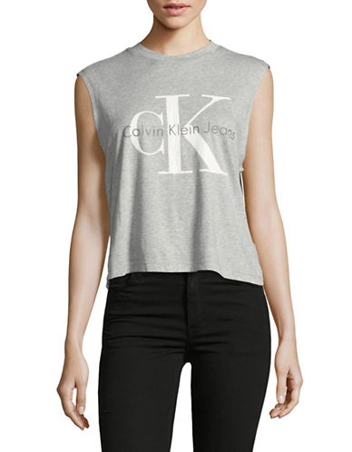 Calvin Klein Jeans Logo Muscle Tank Top-GREY-Medium 89098665_GREY_Medium