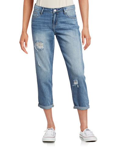 Calvin Klein Jeans Destructed Boyfriend Jeans-BLUE-31 plus size,  plus size fashion plus size appare