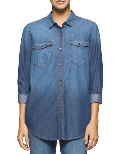 Calvin Klein Jeans Denim Boyfriend Shirt-BLUE-Medium plus size,  plus size fashion plus size appare