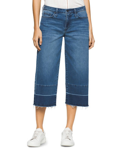 Calvin Klein Jeans Cut-Off Wide Leg Crop Jeans-BLUE-28