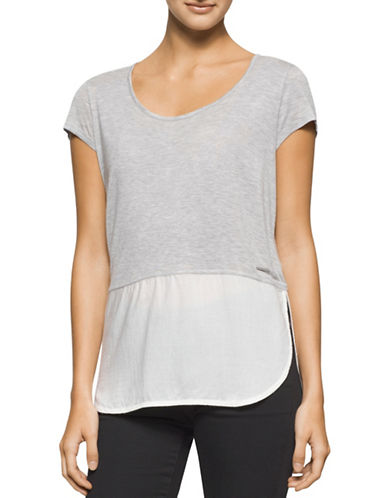 Calvin Klein Jeans Mixed Media T-Shirt-GREY-Large 88529424_GREY_Large