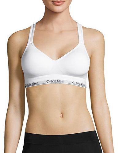 Calvin Klein Crisscross Strap Padded Bralette-WHITE-Small