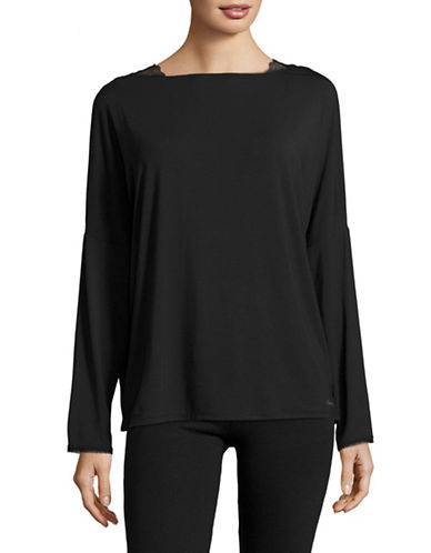 Calvin Klein Lace-Trim Dolman Pyjama Top-BLACK-Small