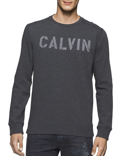 Calvin Klein Jeans Needle Punch Logo Sweatshirt-CHARCOAL-X-Large 88909555_CHARCOAL_X-Large