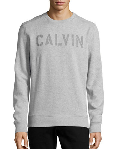 Calvin Klein Jeans Needle Punch Logo Sweatshirt-GREY-Large 88733065_GREY_Large
