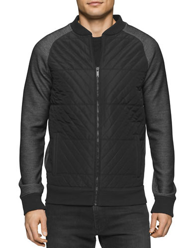 Calvin Klein Jeans Quilted Combo Baseball Jacket-BLACK-Small 88630268_BLACK_Small