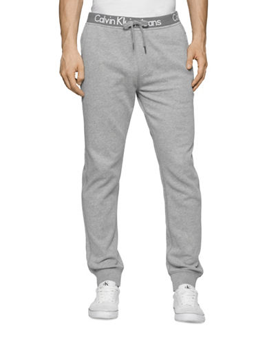 Calvin Klein Jeans Logo Band Fleece Sweatpants-CHARCOAL-X-Large 88630279_CHARCOAL_X-Large