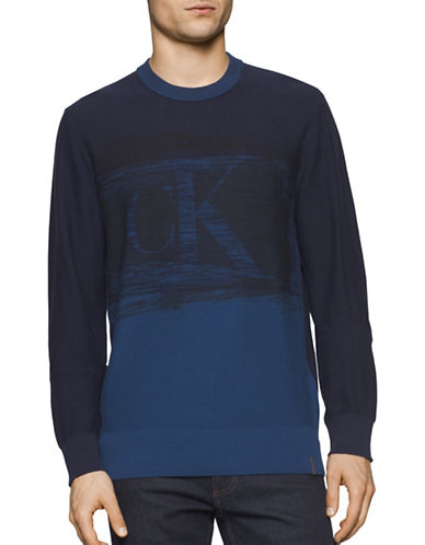 Calvin Klein Jeans Block Cu Logo Crew Neck Sweatshirt-BLUE-Medium 88909585_BLUE_Medium
