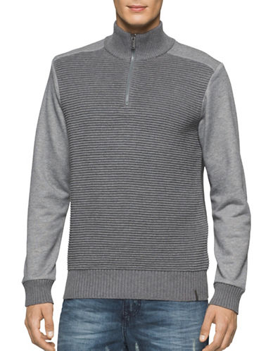 Calvin Klein Jeans Quarter Zip Ottoman Tube Mixed Gauge Sweater-GREY-Large 88909594_GREY_Large