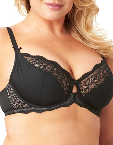 Olga Flirty Unlined Underwire Bra-BLACK-38DDD