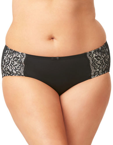 Olga Flirty Lace-Trimmed Hipster Panties-BLACK-4X